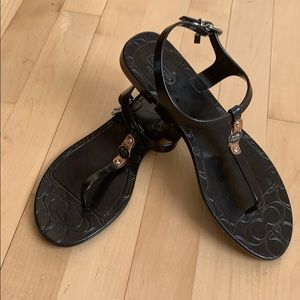 Coach Piccadilly jelly thong sandals black